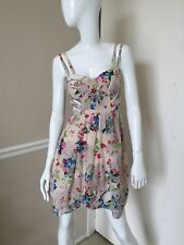 What's Good For The Goose Anthropologie 100% Silk Cream Floral Sun Dress Sz XS