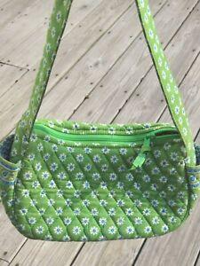 Vera Bradley Green Apple small purse handbag white daisy flowers paisley blue