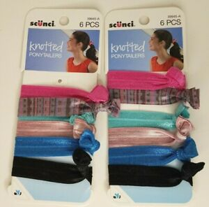 Scunci Knotted Ponytailers 6pc Lot of 2 (12 total hair ties)  #39945-A