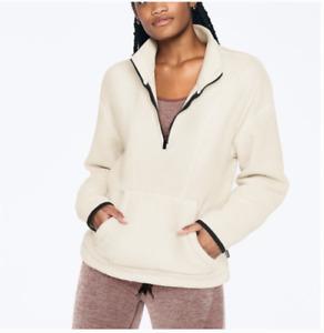 $60 NEW Victoria's Secret PINK Polar Fleece Half Zip Pocket Jacket White LVS NWT