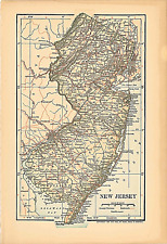 "Original 1903 Antique Map Population Table New Jersey Dodd Mead & Co 10""X6"""