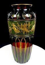 """VAL ST LAMBERT ANTIQUE CUT CRYSTAL DANSE DE FLORE LEON LEDRU 11 3/4"""" VASE 1855-"""