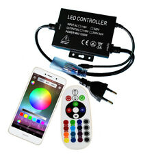 220V 12mm Bluetooth RGB LED Rope Strip Controller 1500W Music 24 Keys Wireless