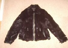 Ladies Black Real Rabbit Fur Jacket Coat Size 10-12 well used craft art projects