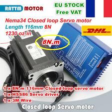 【FR+EU】8N.m Nema34 116mm Hybrid Closed Loop Servo Motor 6A+HSS86 Driver CNC Kit