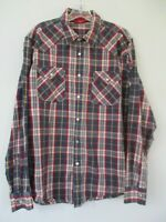 Haggar Men's Size Large 100% Cotton Long Sleeve Blue Plaid Snap Front Shirt