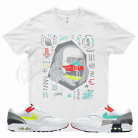 White BF T Shirt for Nike Air Max 1 Evolution Icons 95 Neon Green Silver