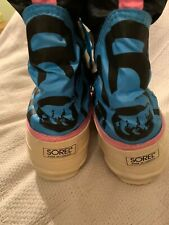 Vintage Sorel Womens Insulated Snow Boots Canada Size 6 Pink Blue White Moon