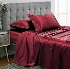 Mk Collection 4pc Luxury Satin Solid Color Deep Pocket Sheet Set CALIFORNIA KING