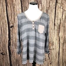 Woolrich McKee's Run Stripe Knit Top Shirt 3/4 Sleeve Heather Gray Women Size L