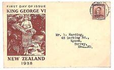 U275 1938 New Zealand Surrey GB Cover {samwells-covers}PTS