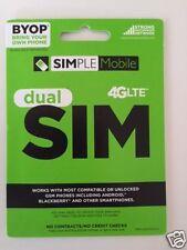 Simple Mobile Dual Sim Card Micro / Mini / Brand New / Unltd T-Mobile Network