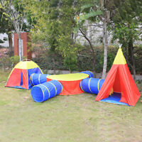7 in 1 Folding Portable Kids Play Tent Crawl Tunnel Play House Indoor Outdoor