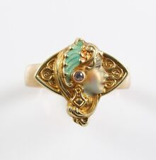 14k Gold Art Nouveau Whiteside & Blank Enamel Diamond Portrait Ring Size 7.75