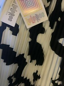 LuLaRoe Jill Pleated Black & Off White Cow Print Skirt Size XL NWT