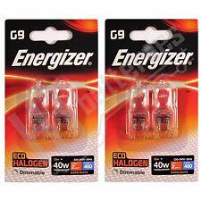 4 x Energizer G9 Eco 40W Halogen Capsule Bulb 460 Lumens 220V Lamp Warm White