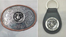 USMC Marine Corps Western Style Buckle and Key Ring Gift Set