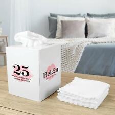 Makeup Removal Wash Cloth - Box of 25 - White Reusable Microfiber 9 x 9 Cloths