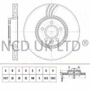 JURATEK FRONT BRAKE DISC FOR VOLVO V60 2.0 D4 1969CCM 190HP 140KW (DIESEL)