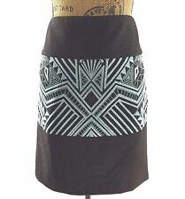 Etcetera 6 Medium Skirt Black Aqua Blue Heavy Embroider Aztec Geometric Pencil