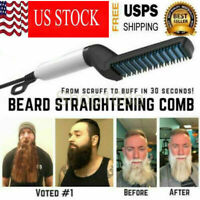Hair Straightener For Men Heat Curling Electric Brush Beard Comb Curler USA