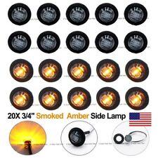"20X Round Mini 12V Amber 3/4"" Black Smoked Side 3 LED Marker Bullet Light US"