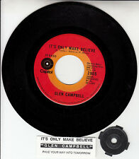 """GLEN CAMPBELL  It's Only Make Believe NEW 7"""" 45 rpm record + jukebox title strip"""