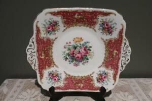 Vintage E B Foley Bone China Tab Handled Cake Plate - Montrose - High Tea - Rc
