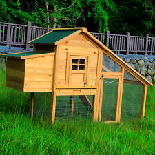 Wooden Chicken Coop Poultry Cage Backyard 2-4 Hens House  w/Nest Box