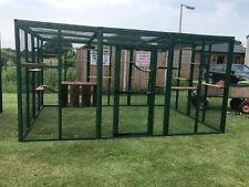 Cat Run 8ft x 12ft House Cat Enclosure Run Outdoor Play Pen Catio Green PVC Safe