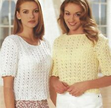 "Ladies Pretty Lace Summer Top Knitting Pattern short sleeves DK 30-44"" 1099"