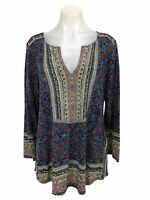 Lucky Brand Long Sleeve Floral Slit Tunic Top Blouse Shirt Women's Size L