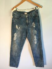 Reserved DISTRESSED Mid Rise Cropped Sz 34EU DENIM 28 US