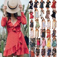 Womens Boho V Neck Ruffle Wrap Mini Dress Ladies Summer Beach Casual Sundress