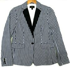 J. CREW Women's Navy & White Gingham Check Solid Lapel Blazer Suit Jacket Size 4