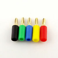10x Copper 5 Colors Gold 3mm Banana Male Plug for Binding Post Probes Instrument
