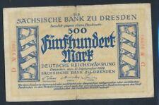 Sachsen Rosenbg: SAX11b stark gebraucht (IV) 1922 500 Mark (8087345