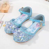 Kids Girls Sandals Froze22 Princess Elsa Fancy Dress Up Party Sequin ELSA Shoes