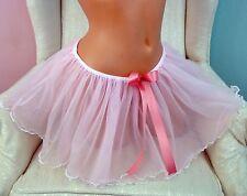 VTG TUTU Antron chiffon nylon sheer 2 LAYER PINK sissy mini half slip skirt L