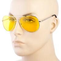 SPORT AVIATOR HD NIGHT DRIVING PILOT SUNGLASSES YELLOW HIGH DEFINITION GLASSES