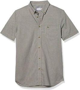Lacoste Men's Gingham Check Shirt  blue yellow regular 40 M 982