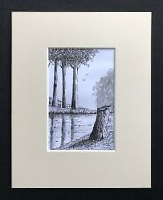"""Silver Birch Tree Forest original mounted Ink drawing 10""""x8"""" G.Burgess Cornwall"""