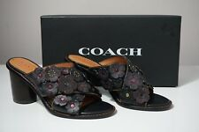Coach Tea Rose Black Leather Slide Mule Sandals G1216 Size 5
