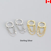 Pair sterling silver Huggie Hoops with Chain Earrings S925 jewelry personality