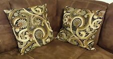 "Two 19"" Square Throw Accent Pillows Brown With Flower Paisley Design"