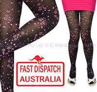Halloween Costume Fancy Dress Tights Pantyhose Panty Hose Pink Star Galaxy BLACK