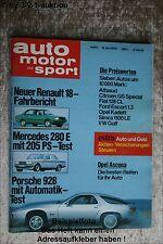 AMS Auto Motor Sport 8/78 * Porsche 928 DB 280 E AMG Volvo 244 DLi