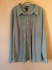 VENEZIA Career Blouse Women's 26/28 Long Sleeves Blue Stretch EUC