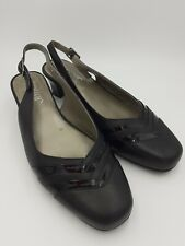Hotter Claudia UK 4.5 EXF Black Slingback Leather Heeled Shoes Patent Accents