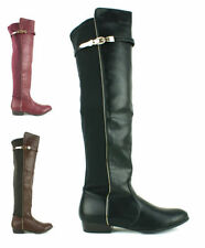Flat (less than 0.5') Block Over Knee Boots for Women
